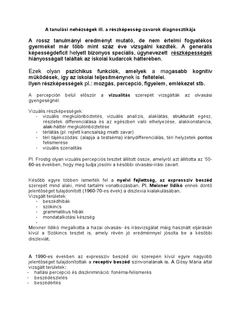 Neurológia - II. Neuropszichológiai tesztek és vizsgálóeljárások - MeRSZ
