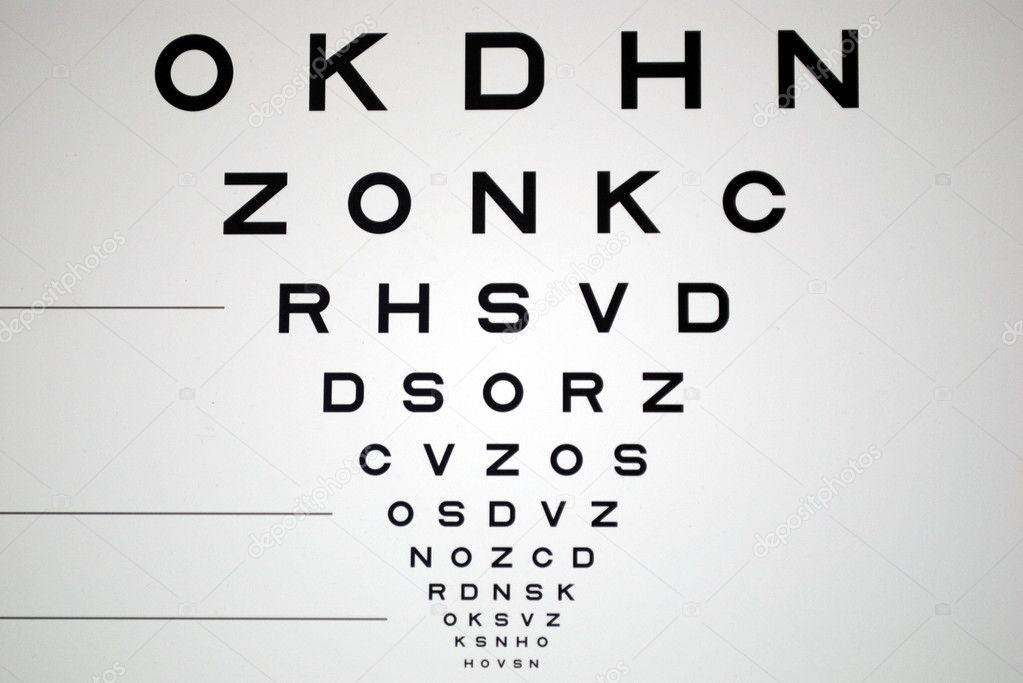 szemész látásteszt diagram