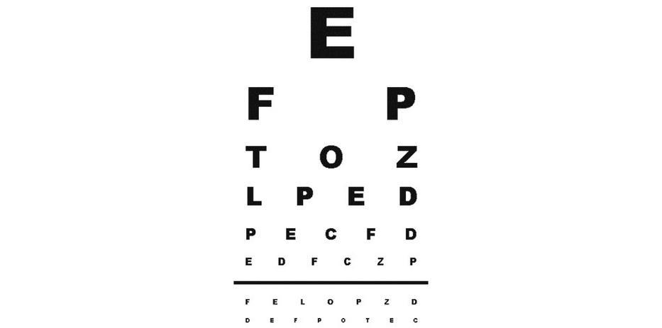 betűk a szemvizsgálaton nem láthatók